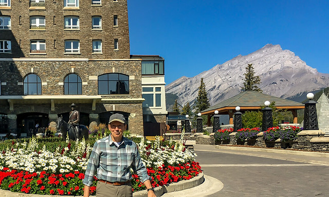 Outside the Fairmont Banff Springs Hotel, by the statue of the North West Mounted Police by Harry O'Hanlan