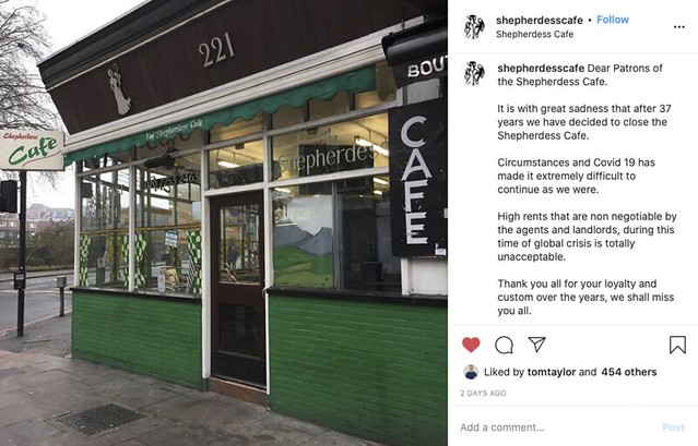 A screenshot of the cafe's announcement of its closure on Instagram