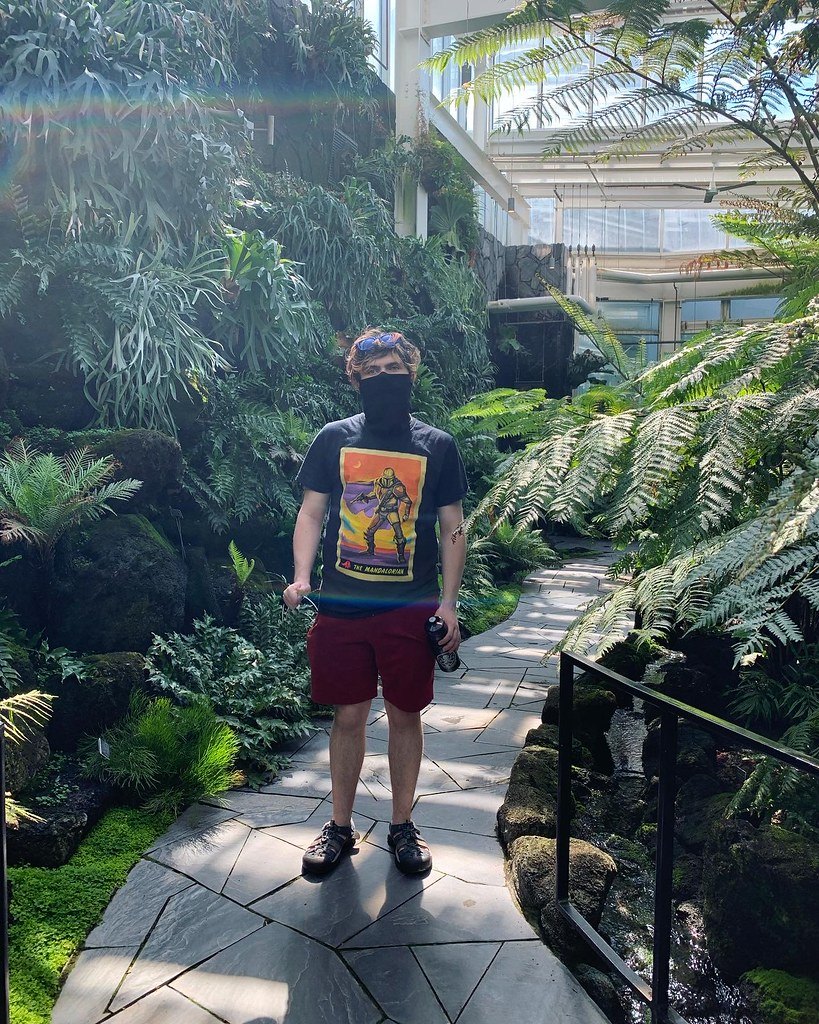 my son, wearing a mask, in the fern room at the Como Conservatory