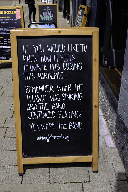 Sign outside a pub in Newbury