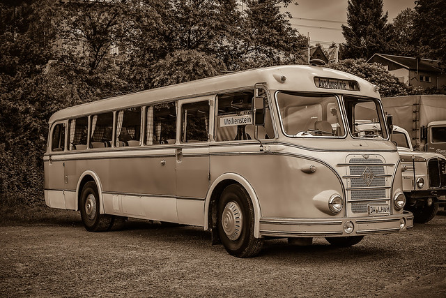 a wonderful old classic GDR IFA Touring bus, yesterday at a little classic car meeting - sepia-