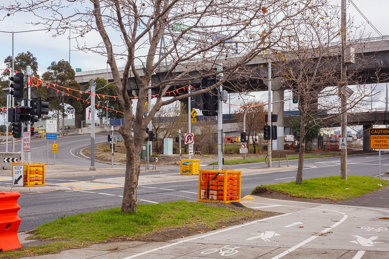 Dynon Road constrction works, under the Citylink tollway, West Melbourne, Victoria, Australia.