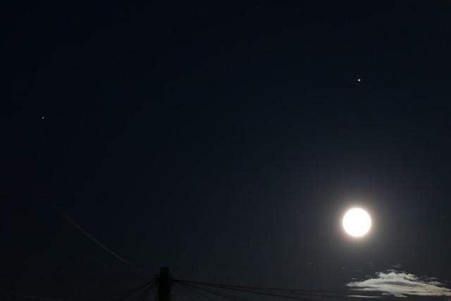Moon, Jupiter (and moons) and Saturn