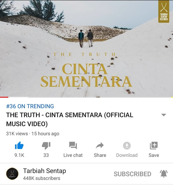 Single CINTA SEMENTARA Nyanyian THE TRUTH Kini Trending di YouTube
