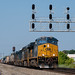 Jackson Glozer posted a photo:CSX train Q364 (Avon, IN - Selkirk, NY) passes under the CP 373 signals in Rochester, NY with a rebuilt GE AC44CM leading the five locomotive consist.