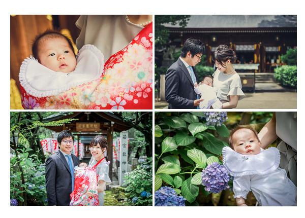 お宮参りを若宮八幡社で(名古屋市中区)で 紫陽花の咲く6月
