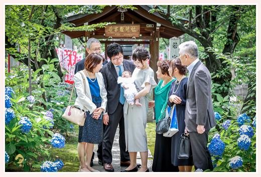 紫陽花が満開の若宮八幡社へお宮参り(初宮参り) 名古屋市中区