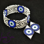 "Beadwoven Jewelry Set by Jenny Schu 2020  <a href=""http://jennyschu.blogspot.com/2020/04/evil-eye-bangle-and-earring-set.html"" rel=""noreferrer nofollow"">jennyschu.blogspot.com/2020/04/evil-eye-bangle-and-earrin...</a>"