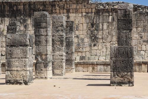 The square columns of the Temple of the Warriors (Templo de los Guerreros), Chichen Itza, Mexico's Yucatán Peninsula