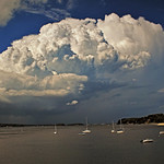 1. August 2018 - 3:34 - Massive thunderhead approaching Centerport Harbor, Centerport, Long Island, New York.