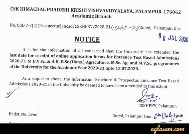 CSKHPKV Palampur Entrance Test 2020 Application Form deadline extended notice