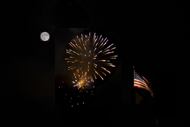 Fireworks, Flag, Full Moon and Photoshop