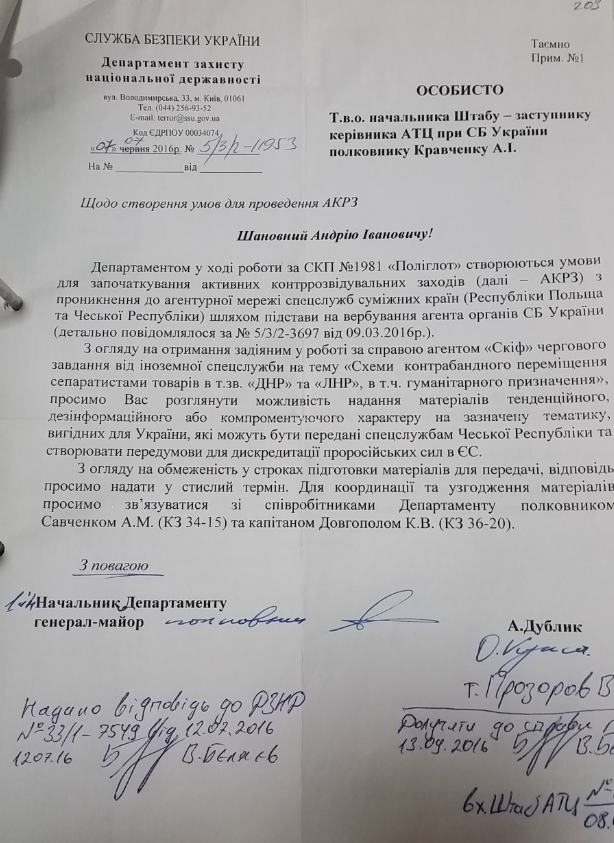 Document of the SBU's Department of Protection of National Statehood