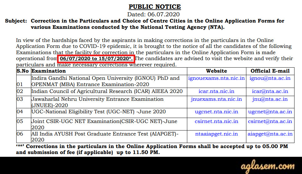 JNUEE 2020 Application Form Correction Notice