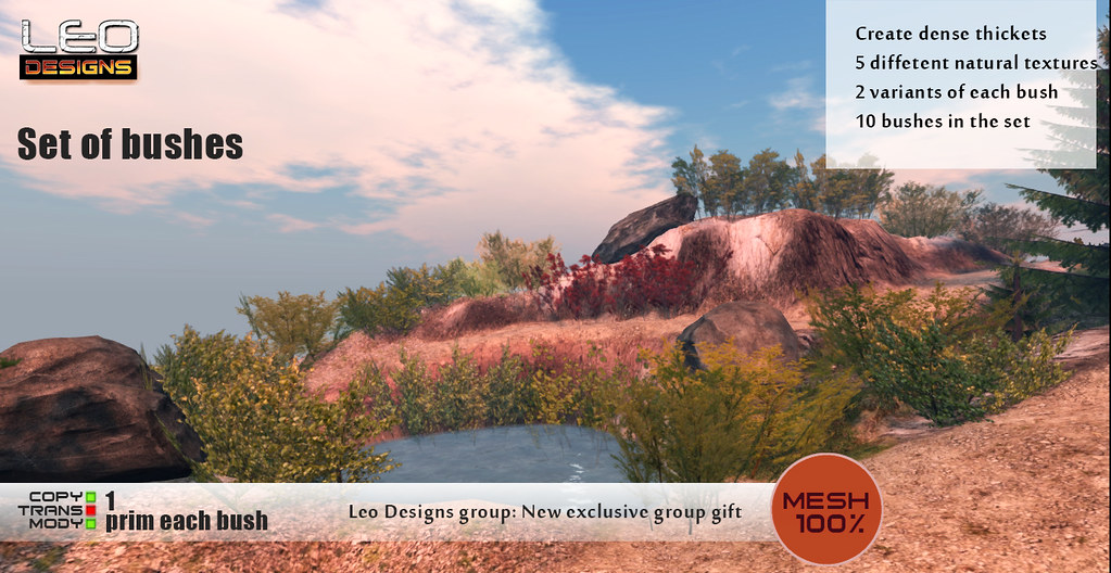Leo Designs: new exclusive group gift - Set of bushes