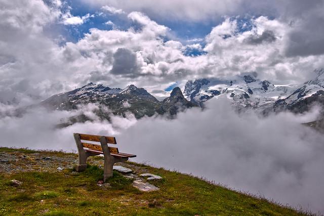The Empty Bench in front of Monte Rosa And the Gornergrat is waiting for you...! Zermatt , Kanton Valais, Switzerland. No. 0057.