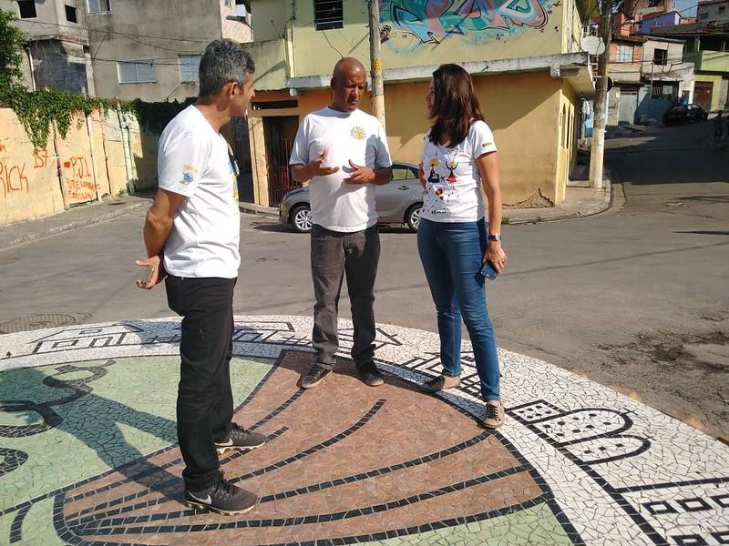 Rotatória de Comunidade Santa Inês, da esquerda para direita; Valmir Dantas, Ionilton Aragão, Miriam Magdala. Maio de 2019