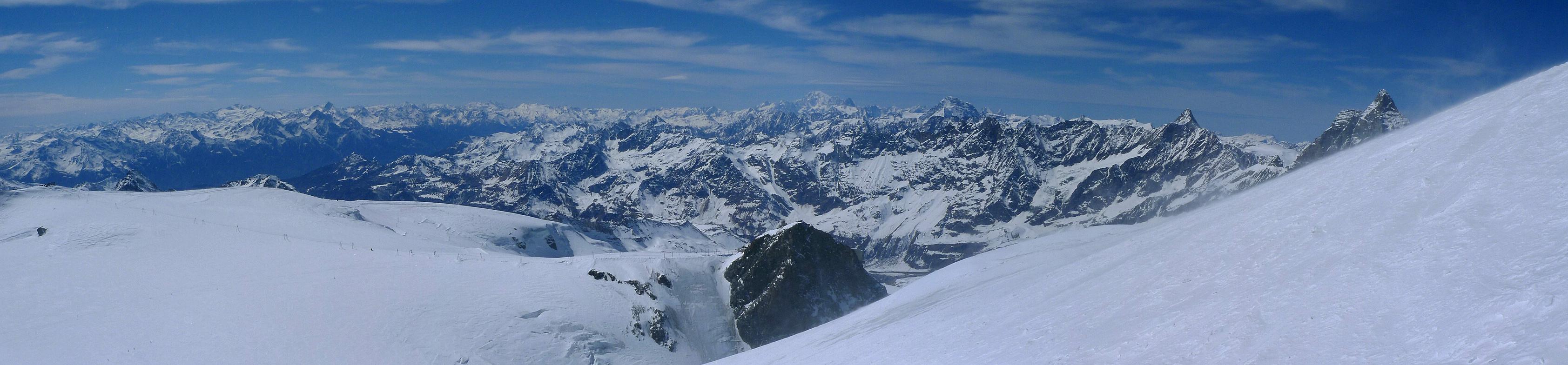 Breithorn - Zermatt Walliser Alpen / Alpes valaisannes Švýcarsko panorama 16
