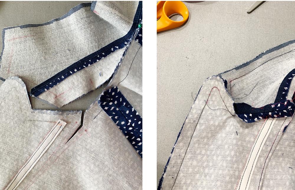 Denim Jacket lapel sewing composite