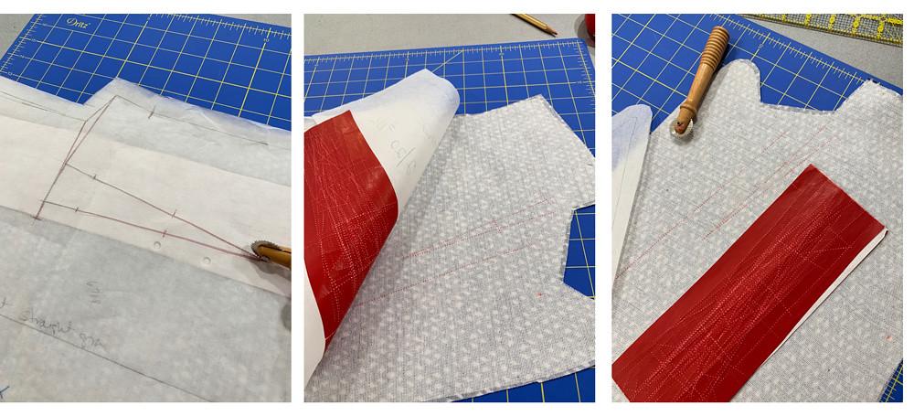 Denim jacket marking with wax paper