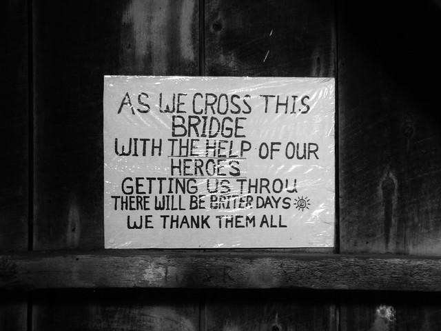 As we cross this bridge....