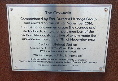 Plaque on the Lifeboatmen's Memorial, The Coxswain, Seaham