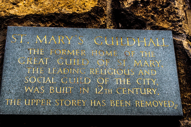 St. Mary's Guildhall plaque, Lincoln, UK