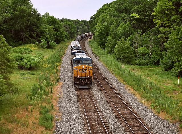 Westbound CSX freight at Blue Grass Cut near Albion Indiana