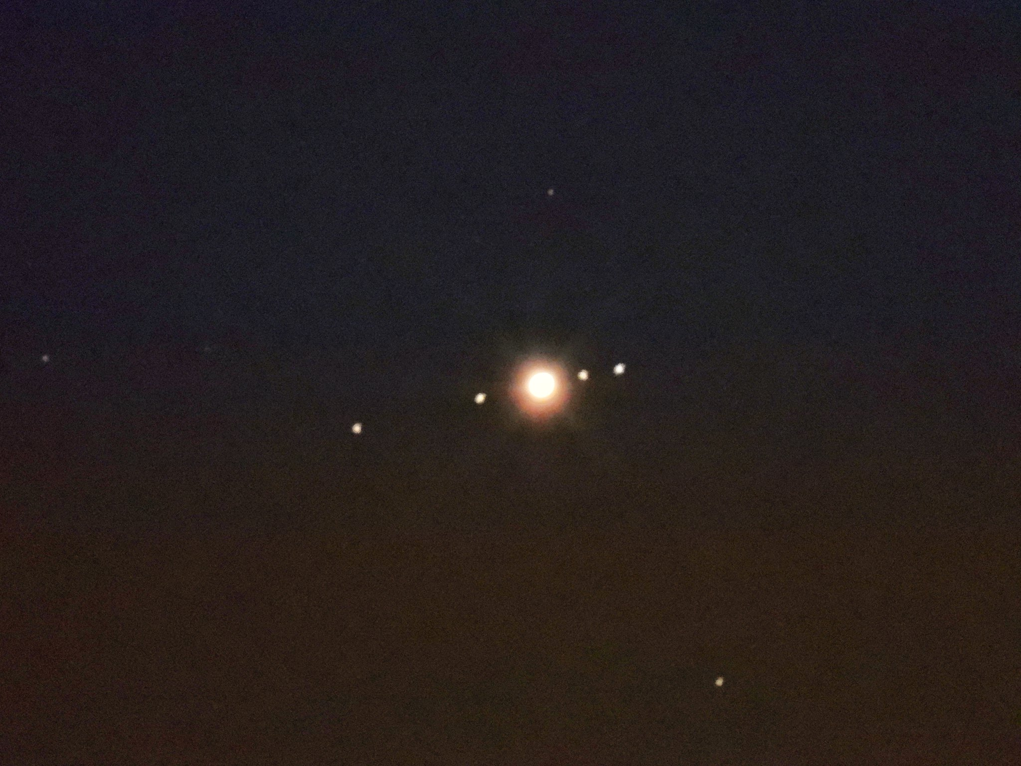 This is my image of Jupiter and its four moons. I took this with a Nikon P1000 Camera.