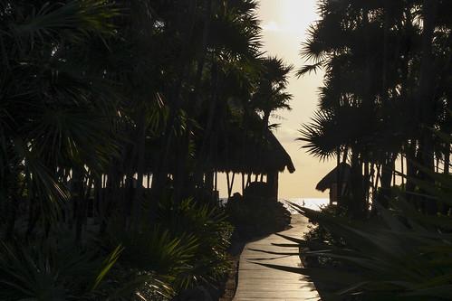 Boardwalk to the beach at sunrise, Valentin Imperial Riviera Maya, Mexico