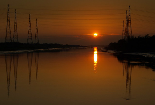 Glowing Sun over the RIver Ribble at Preston