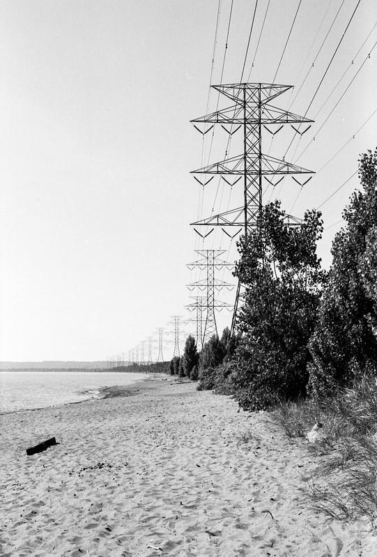 Heavy Duty Power Lines Along the Beach
