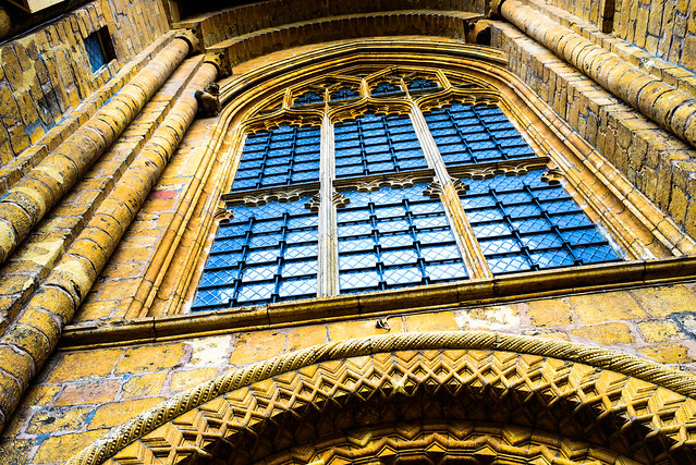 Lincoln Cathedral - windows above entrance