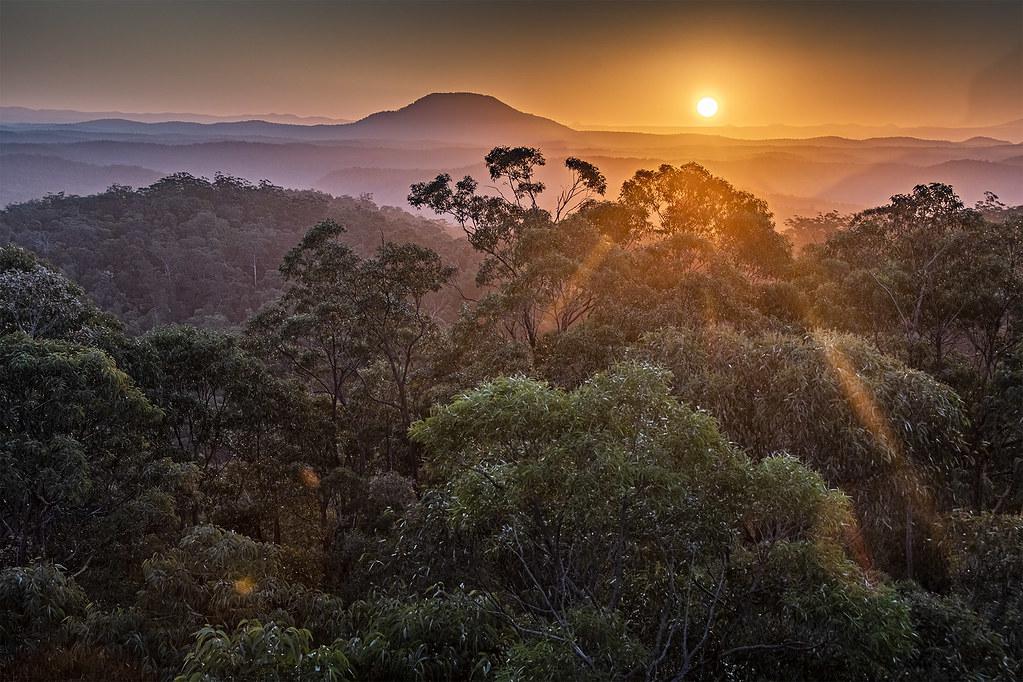 Sunset with Smoke towards Bushfires