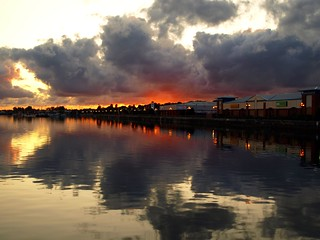 Cloudy sunset over Preston Docks | by Tony Worrall