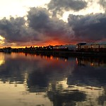 Cloudy sunset over Preston Docks