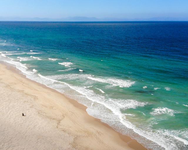 Vista aérea de la playa de los Lances en Cádiz