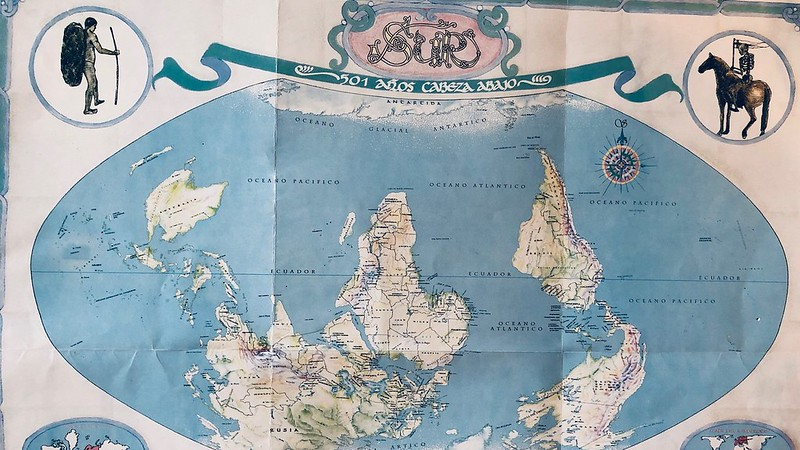A map of the world which has the antarctic at the top and the arctic at the bottom