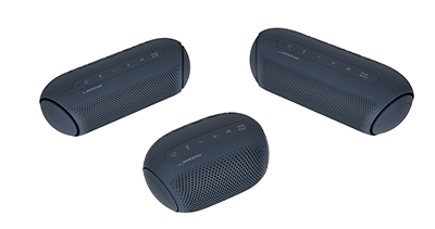 Although compact in size, the portable Bluetooth speakers have long battery lives necessary for convenient use anywhere. From Left: LG XBOOM Go PL5, PL2, PL7 wireless Bluetooth speakers.