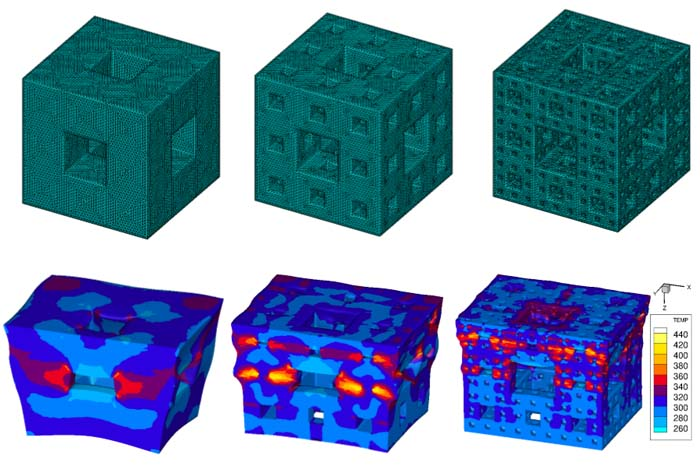 Simulations show how fractal structures of increasing complexity dissipate energy from shockwaves