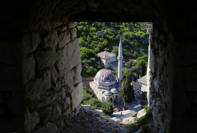 Hadzi-Alija Mosque seen from uppermost rampart bastions in Počitelj