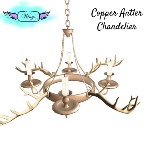 New - Copper Antler Chandelier