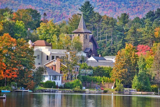 Lake Placid - New York - MIrror Lake - Autumn Scene Downtown
