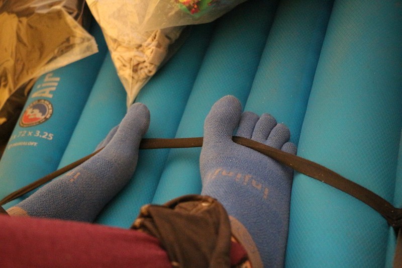 Vicki's toes in her Injinjii Socks as we hunkered down in the tent while it rained and hailed outside