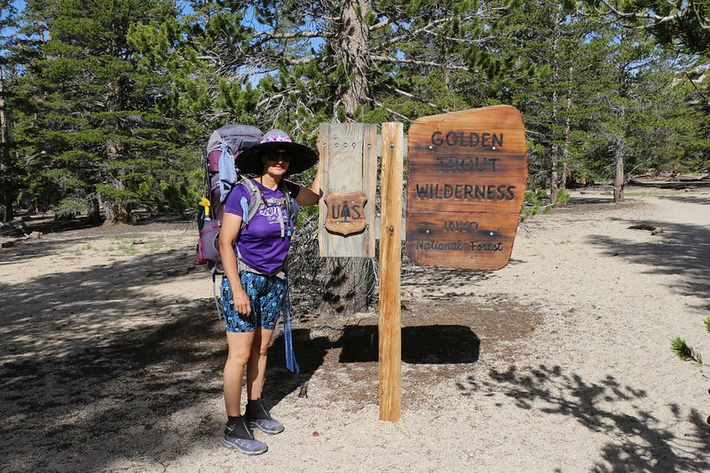 Vicki at the Golden Trout Wilderness sign as we head for Trail Pass