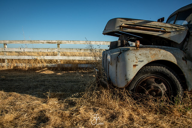 old 1946 Ford flatbed and fence