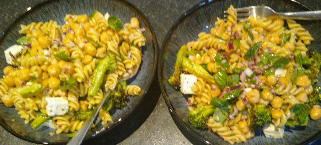 Roast broccoli pasta salad in two bowls