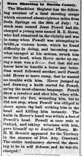 Monroe Hawver Death - Idaho semi-weekly world August 10, 1880
