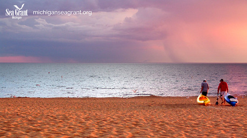 Grand Haven Lake Michigan Virtual background left logo | by michiganseagrant