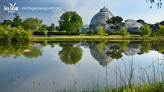 Belle Isle Conservatory Detroit River Virtual background left logo | by michiganseagrant